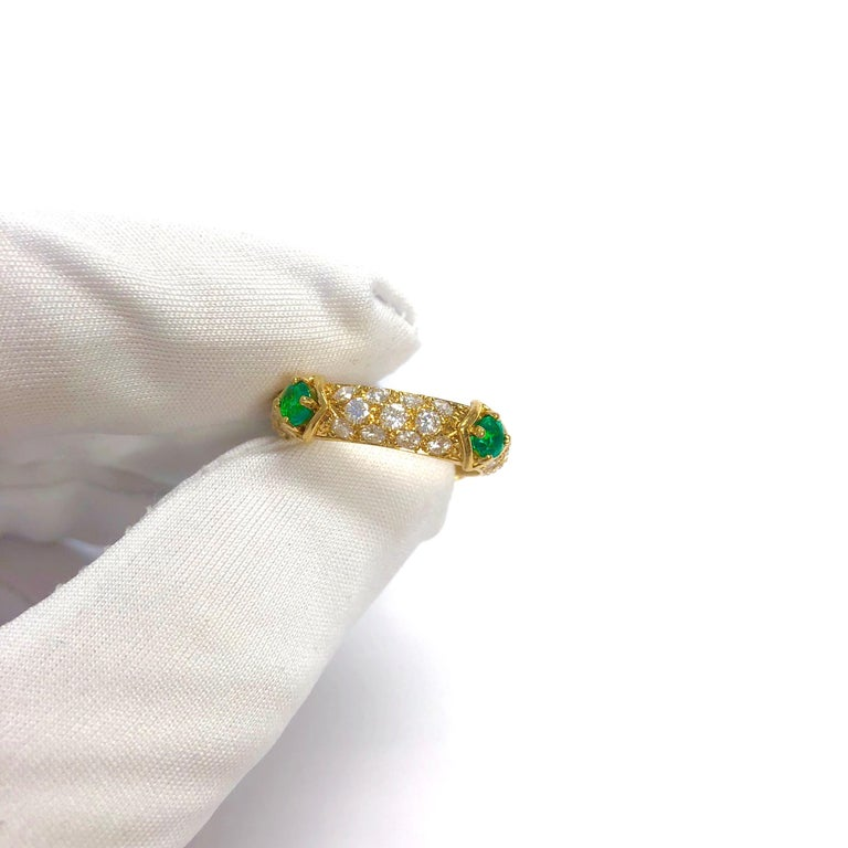 Mauboussin Diamond and Emerald Yellow Gold Eternity Band For Sale 5