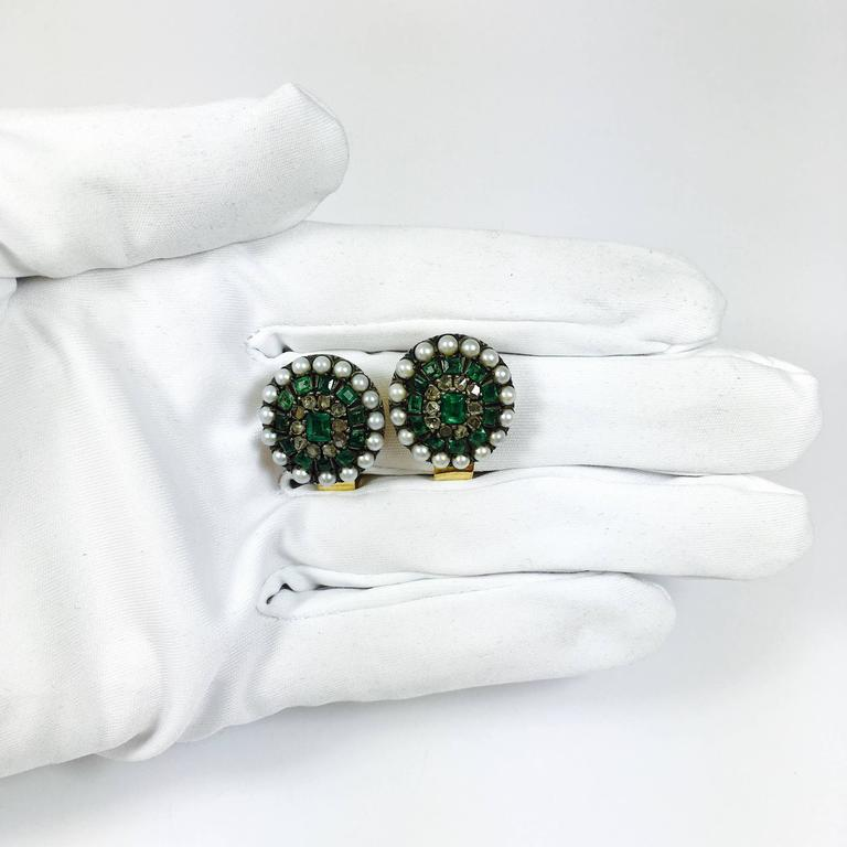 Women's Antique Emerald Pearl and Rose Cut Diamonds Silver and Gold Earrings For Sale