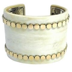John Hardy Dot Buffalo Horn Yellow Gold and Sterling Silver Wide Cuff Bracelet