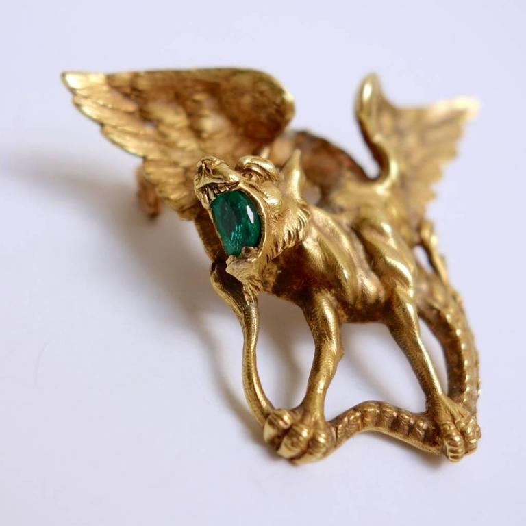 Art Nouveau Magnificent Emerald Gold Griffin Brooch  For Sale