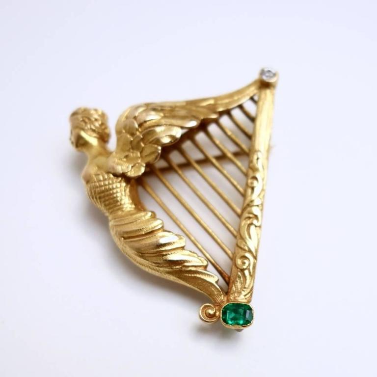 Emerald Diamond Gold Large Coat of Arms of Ireland Harp Brooch 3