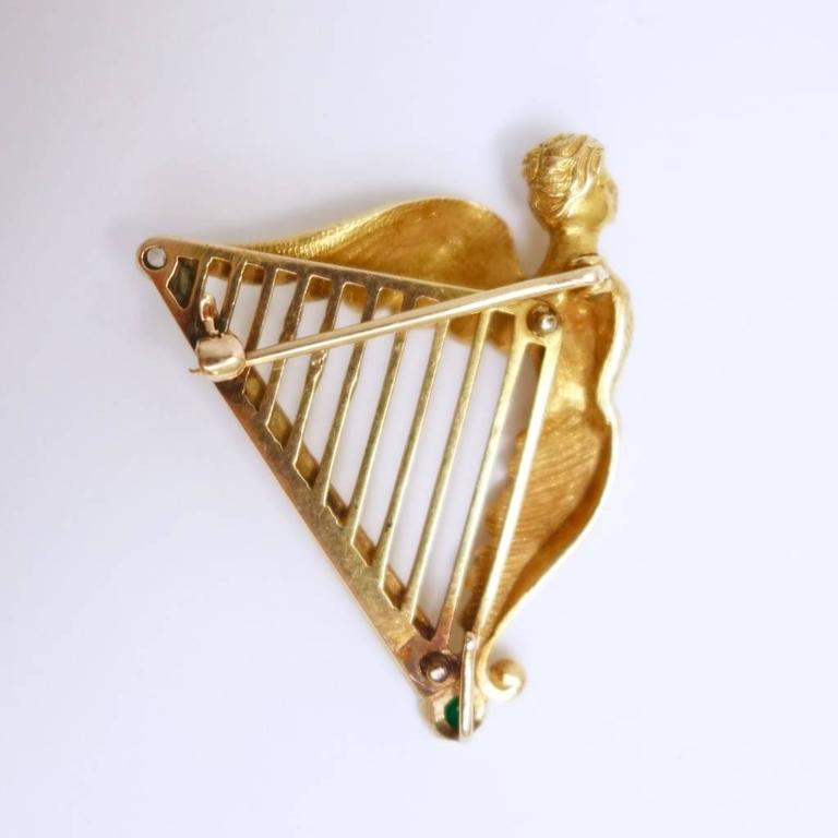Emerald Diamond Gold Large Coat of Arms of Ireland Harp Brooch 4