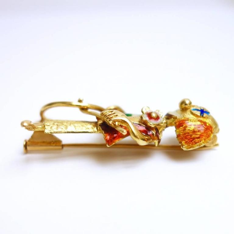 Whimsical Enamel Gold Happy Clown Brooch 3