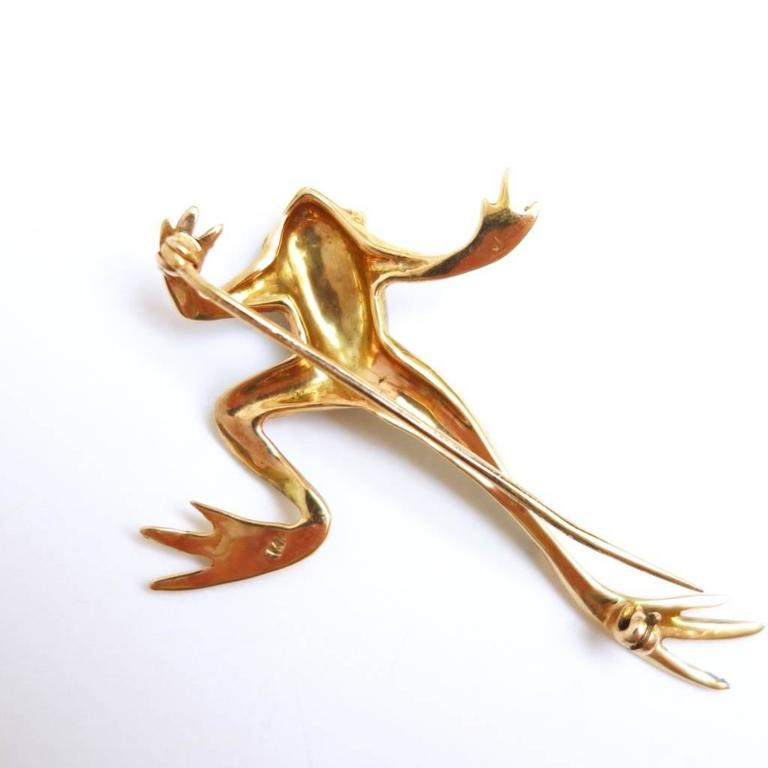 Exotic Green Enamel Garnet Gold Frog Brooch 2