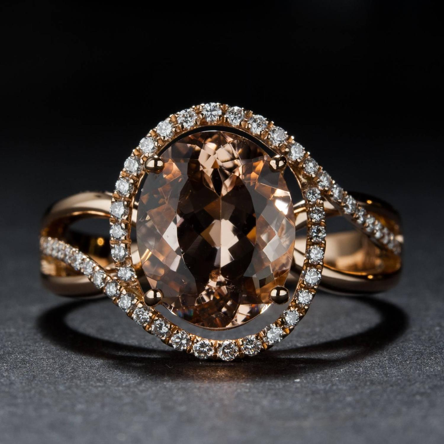 2 80ct Morganite and Diamond Ring For Sale at 1stdibs