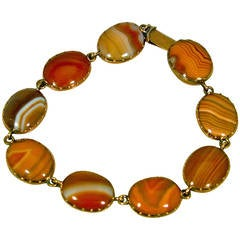 Antique Agate Gold Bracelet