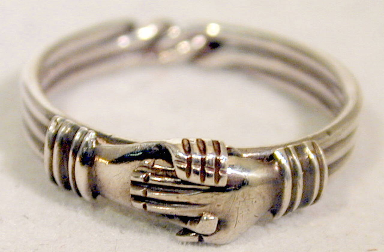 Antique Sterling Betrothal Ring with Clasped Hands over a heart 3