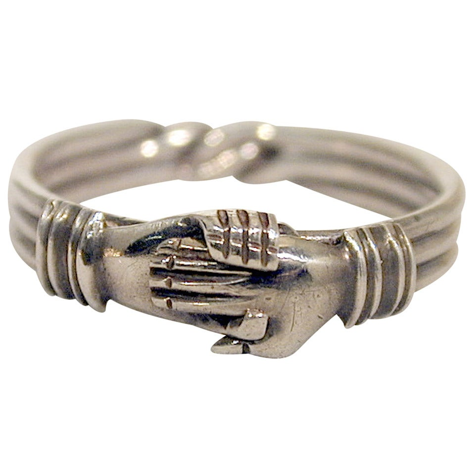 Antique Sterling Betrothal Ring with Clasped Hands over a heart 1