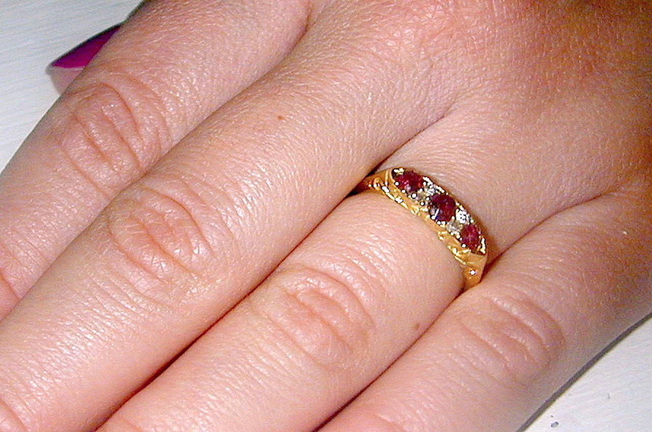 Antique Three Stone Ruby Gold Ring at 1stdibs