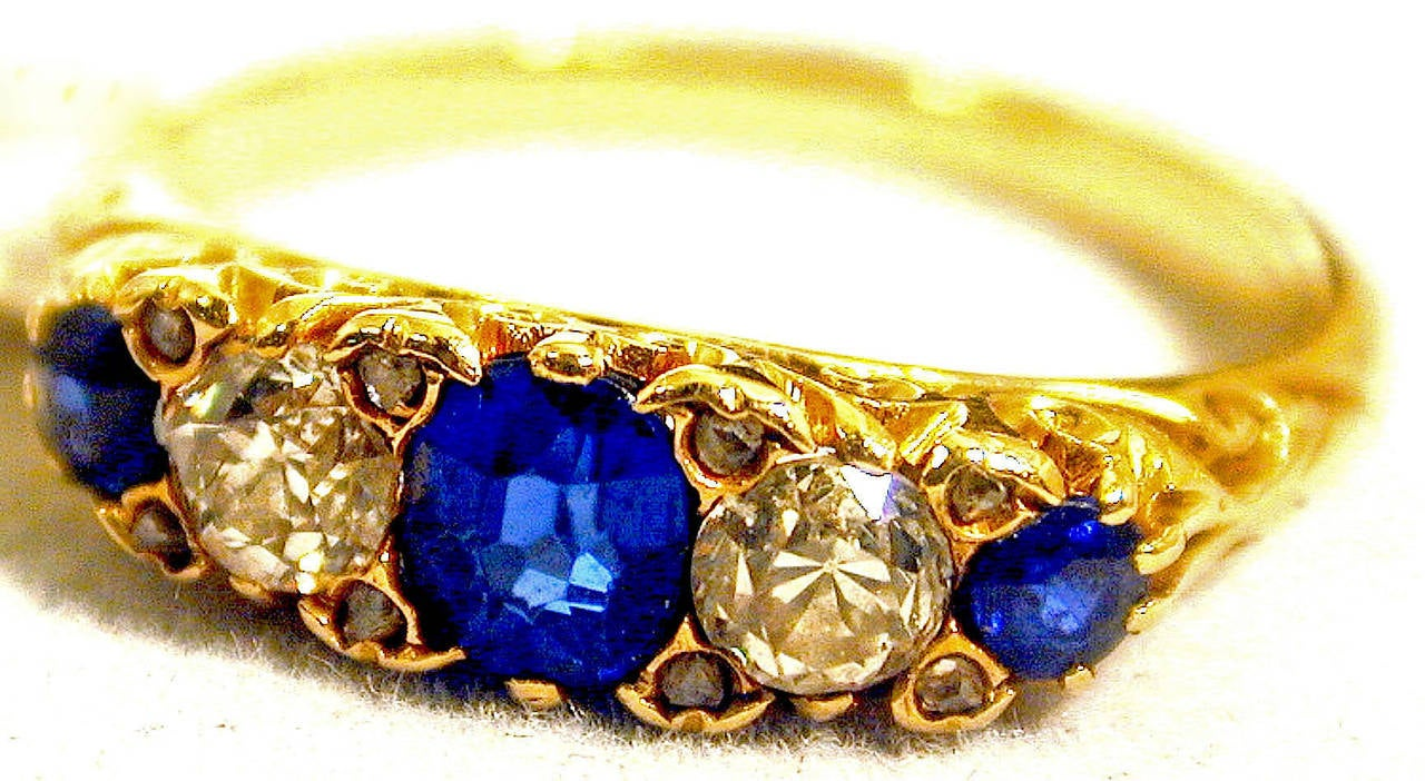 Victorian Antique Sapphire Diamond Gold Five-Stone Ring For Sale