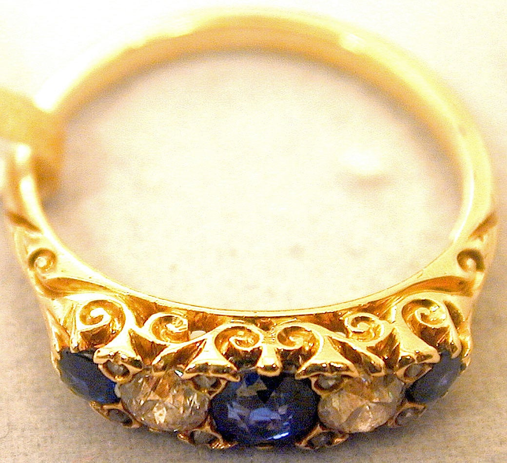Women's Antique Sapphire Diamond Gold Five-Stone Ring For Sale