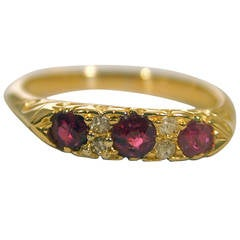 Antique Three Stone Ruby Gold Ring