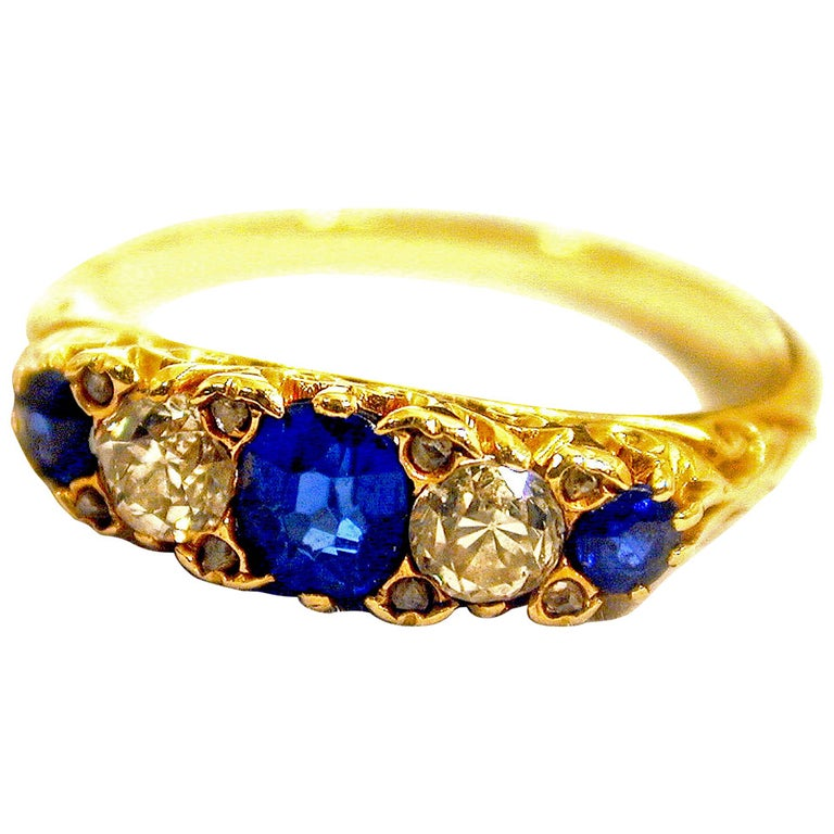 Antique Sapphire Diamond Gold Five-Stone Ring For Sale