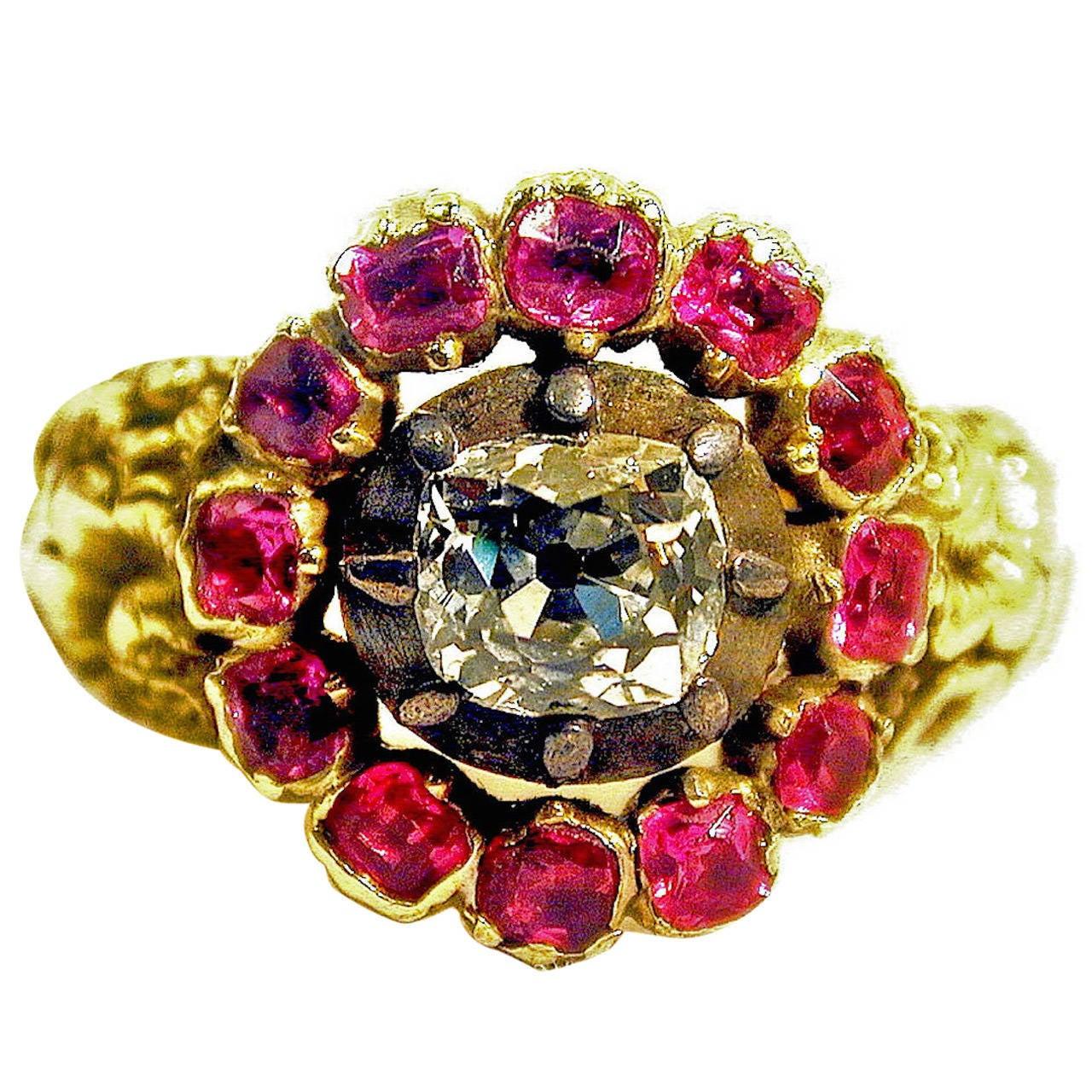 Antique Diamond Ruby Gold Ring