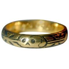 Antique Enamel Gold Skull Memorial Ring