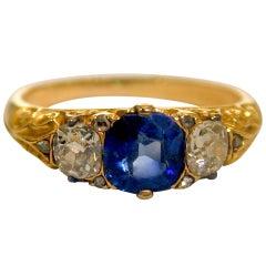 Antique Sapphire and Diamond 3 Stone Ring
