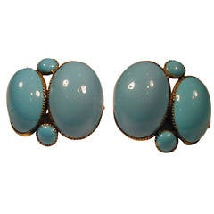 Antique Queen Anne Enamel Earrings