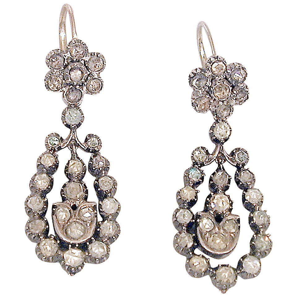 Antique Jargoon Earrings Set in Silver and Gold