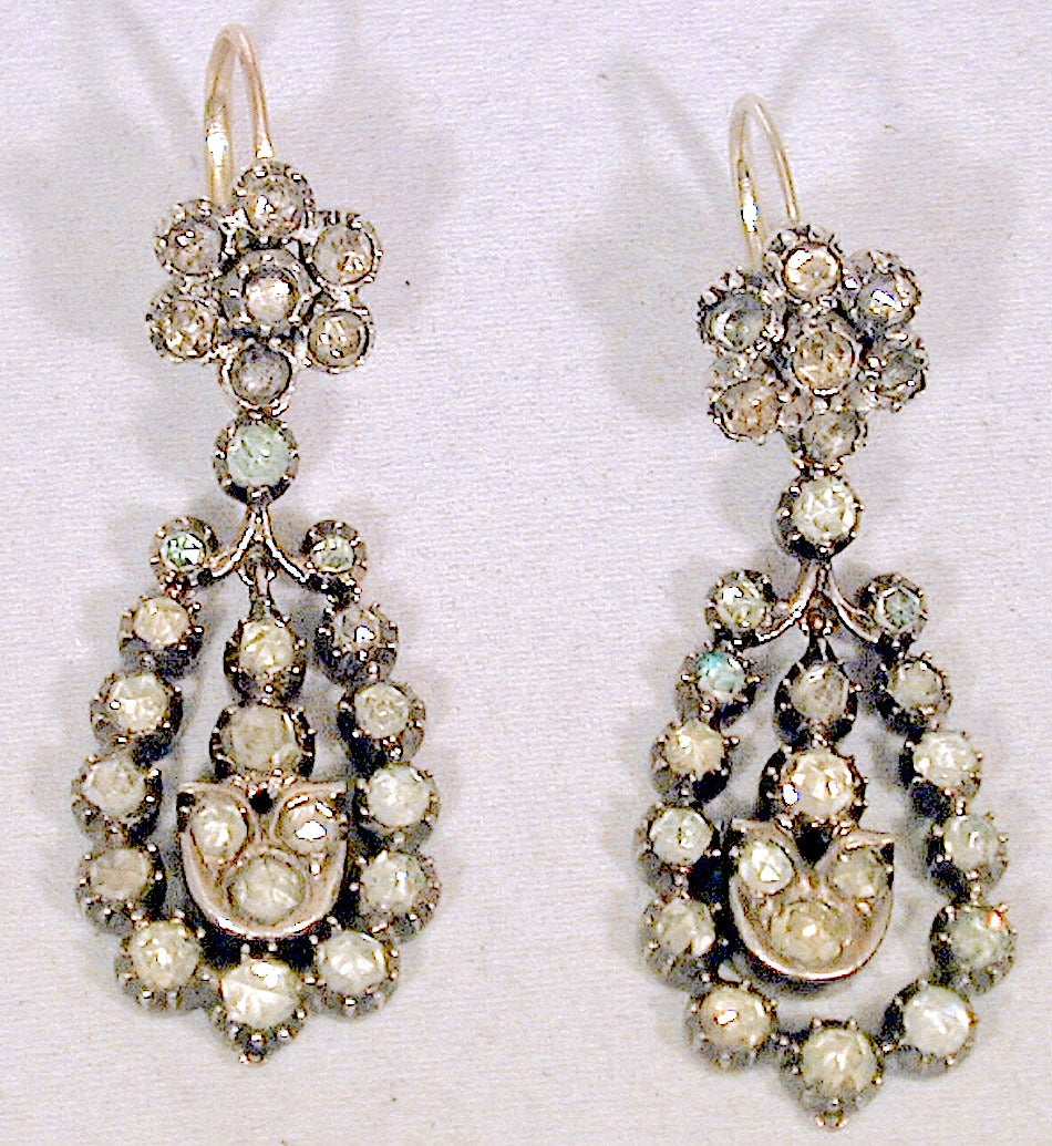 Fabulous Victorian day/night earrings set with jargoons in 18K gold and silver. Traditionally the tops were used alone for daytime wear and the drops added for more formal evening attire.  Jargoon is name applied by gemologists to those zircons