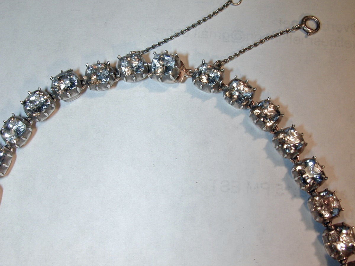 Exquisite Georgian Rock Crystal Riviere Set In 12k Gold And Silver Is A Antique Necklace