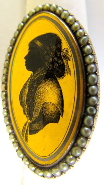 Antique Pearl and Verre Eglomisé  Portrait Ring In Excellent Condition For Sale In Baltimore, MD
