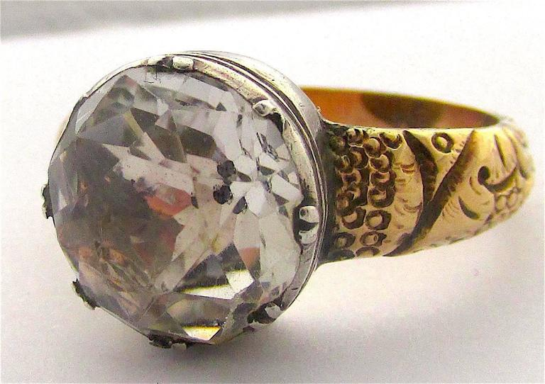 Antique Paste Silver Gold Ring At 1stdibs