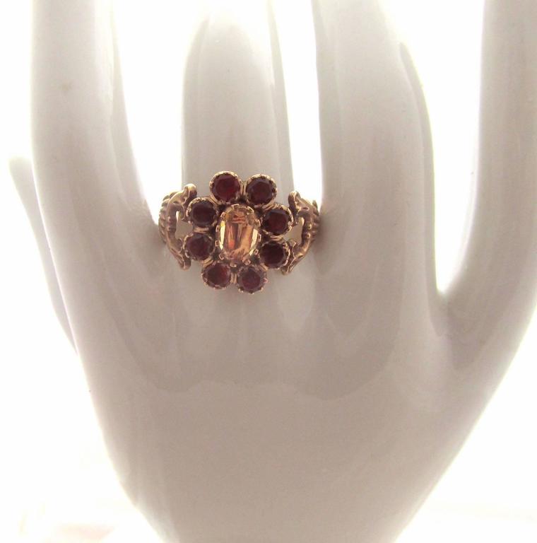 Women's Antique Garnet Topaz Gold Cluster Ring For Sale
