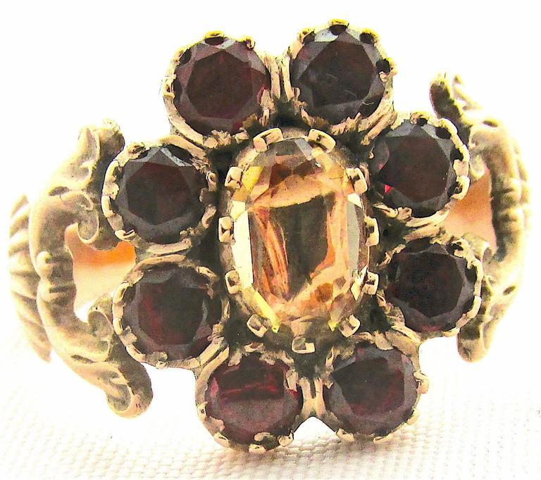 Antique Garnet Topaz Gold Cluster Ring For Sale 2