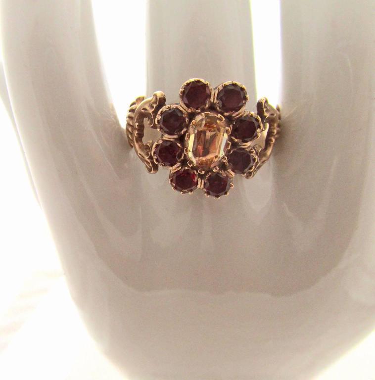 Antique Garnet Topaz Gold Cluster Ring For Sale 1
