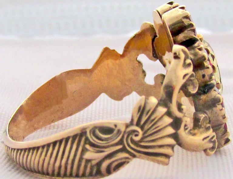 Antique Garnet Topaz Gold Cluster Ring For Sale 5