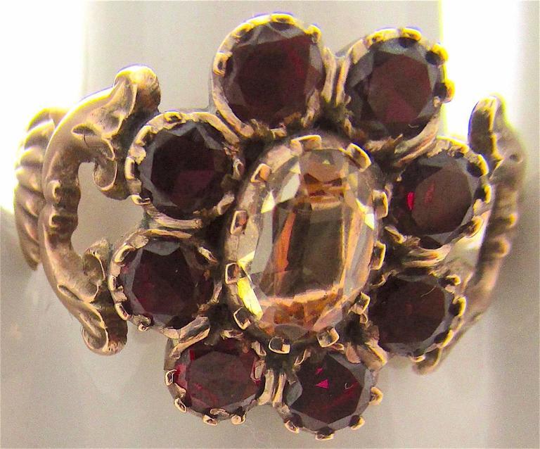 Georgian Antique Garnet Topaz Gold Cluster Ring For Sale