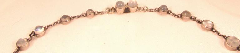 Antique Moonstone Silver Necklace  For Sale 4