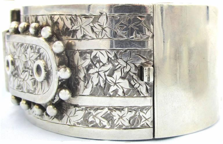 Antique Sterling Silver Buckle Bracelet For Sale 1