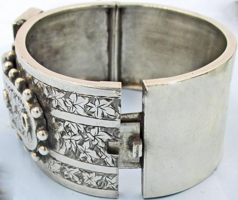 Women's Antique Sterling Silver Buckle Bracelet For Sale