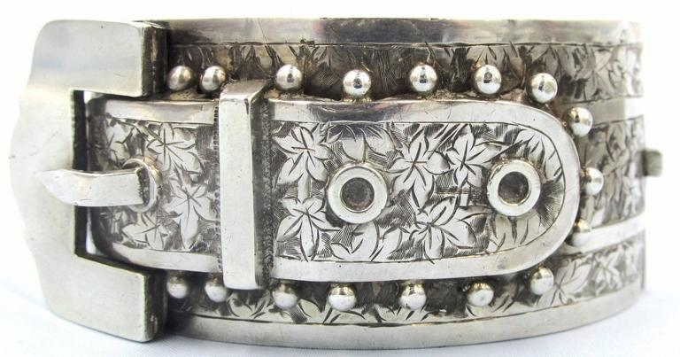Victorian Antique Sterling Silver Buckle Bracelet For Sale