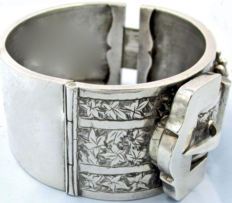 Antique Sterling Silver Buckle Bracelet For Sale 2