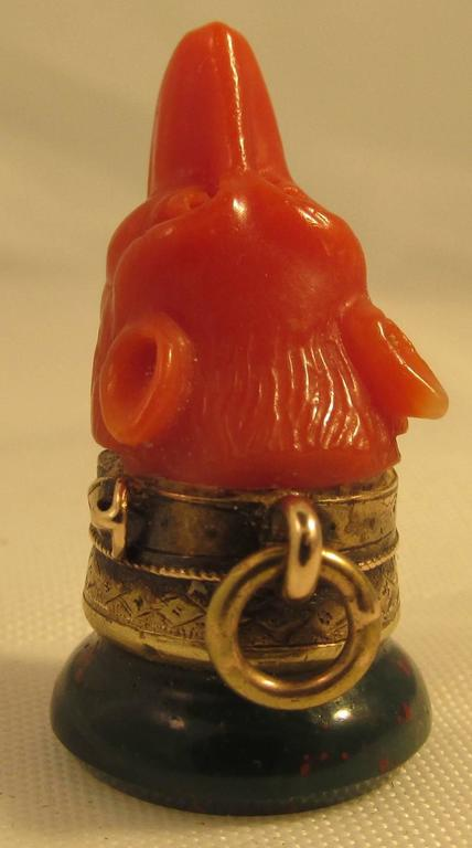 Antique Coral Bloodstone Gold Fob In Excellent Condition For Sale In Baltimore, MD