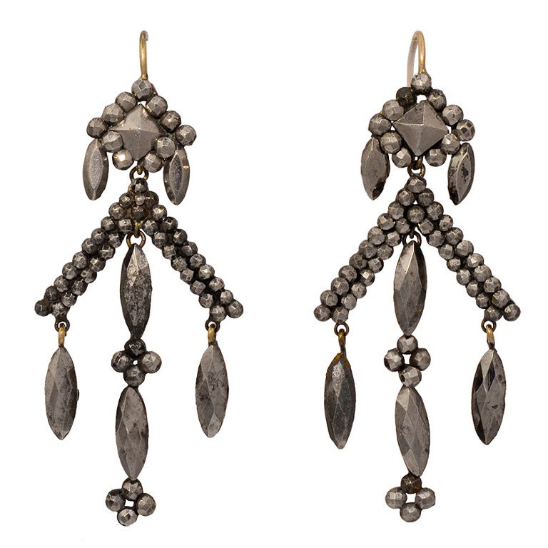 Victorian Cut Steel Drop Earrings
