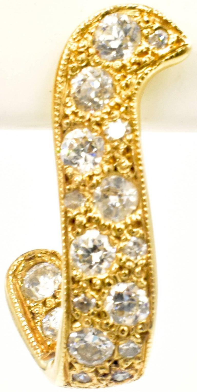 Women's 14 Karat Gold and Diamond Earrings For Sale