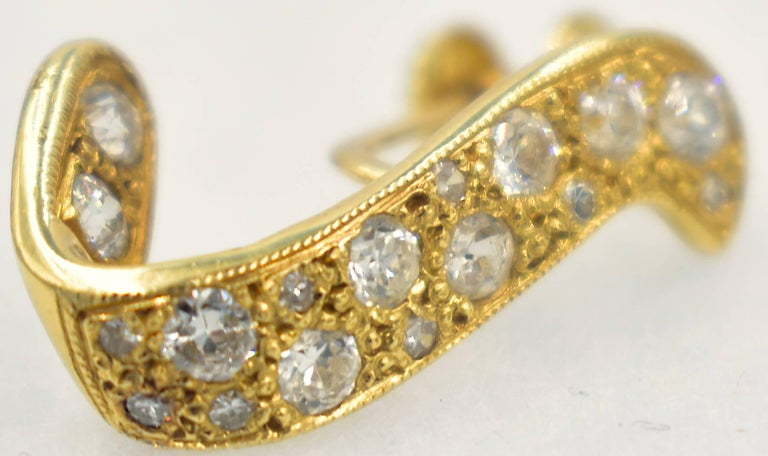 14 Karat Gold and Diamond Earrings For Sale 1