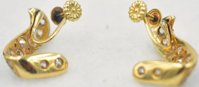 14 Karat Gold and Diamond Earrings For Sale 3