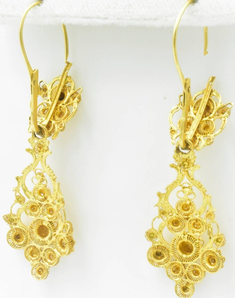 Antique 18 Karat Gold Cannetille Earrings For Sale 1