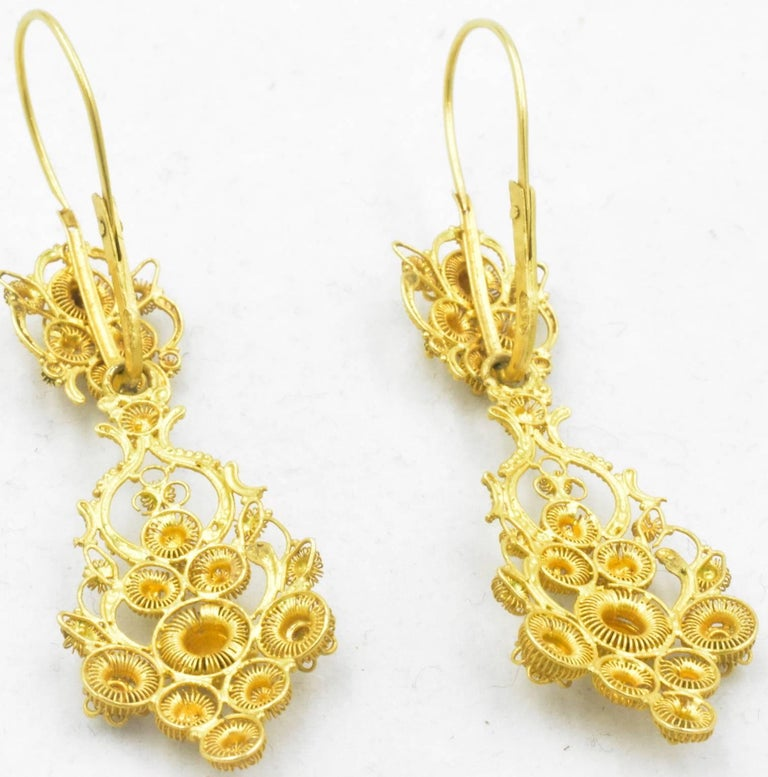 Antique 18 Karat Gold Cannetille Earrings For Sale 3