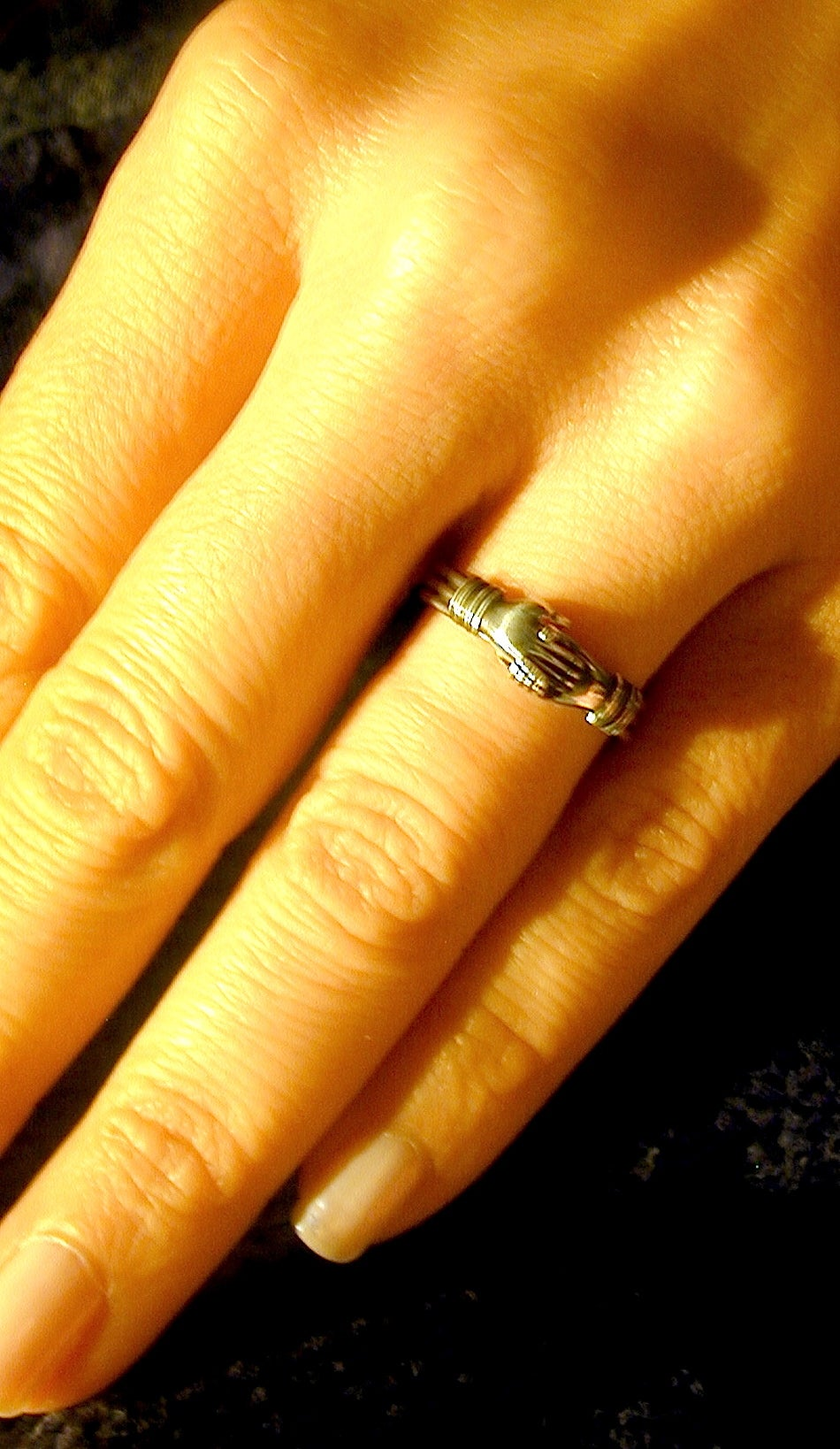 Antique Sterling Betrothal Ring with Clasped Hands over a heart 8