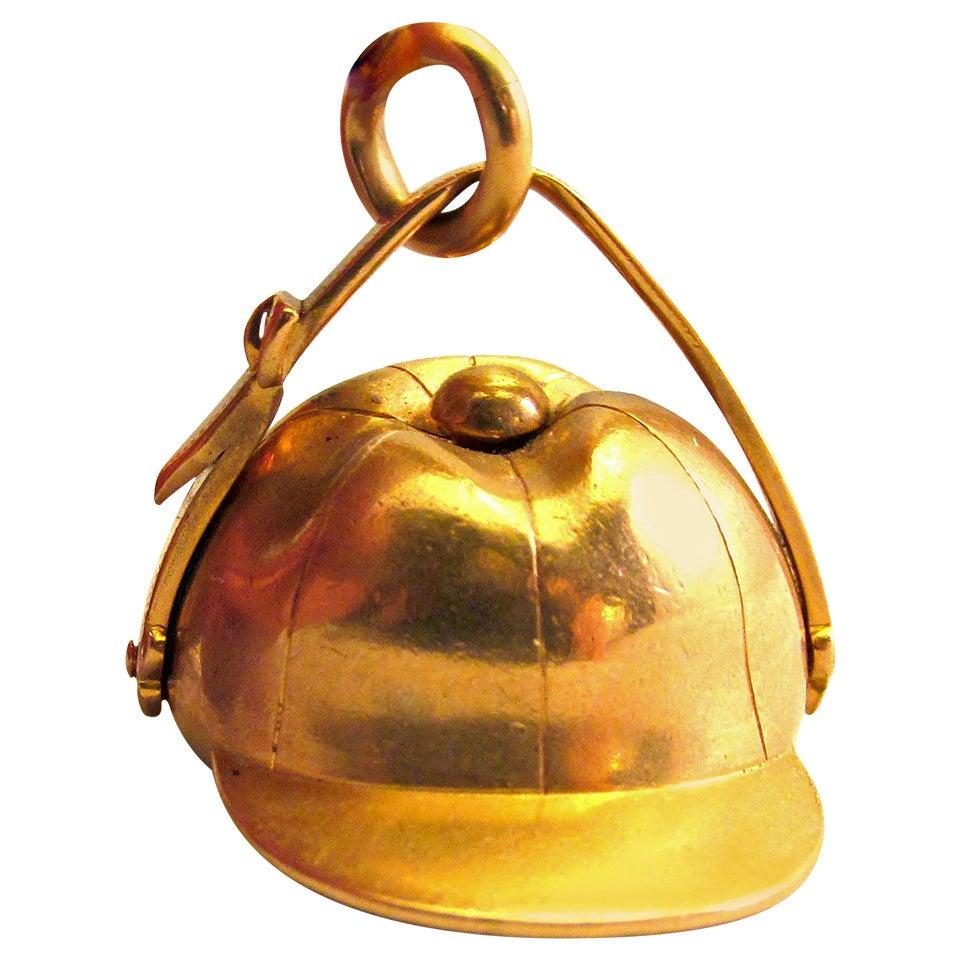Antique Gold Jockey Cap Fob