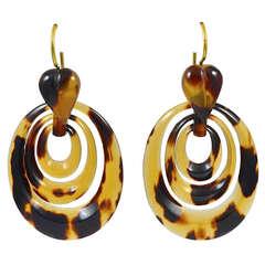 Antique Tortoise Shell Hoop Earrings