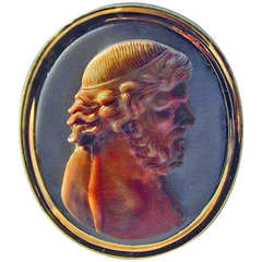 Antique Agate and 18K Gold Cameo Ring