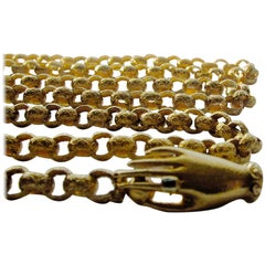 Antique 18K Gold Muff Chain with Hand Clasp