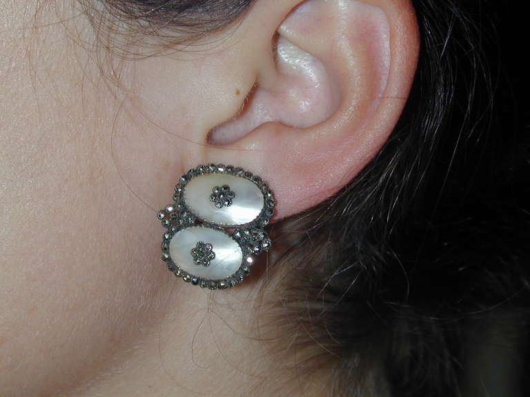 Antique Coque de Perle and Pyrite Earrings For Sale 2