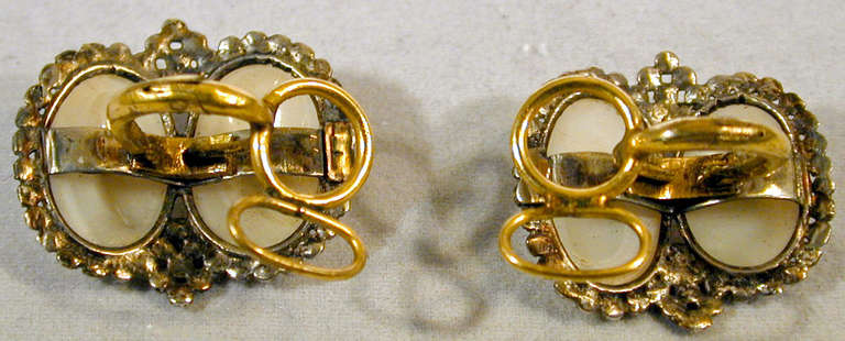 Antique Coque de Perle and Pyrite Earrings For Sale 1